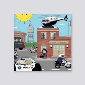 "POLICE DEPARTMENT SCENE Square Sticker 3"" x 3"""